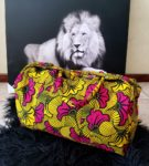 yellow and red ankara duffel bag
