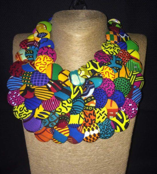 multicolored ankara button necklace