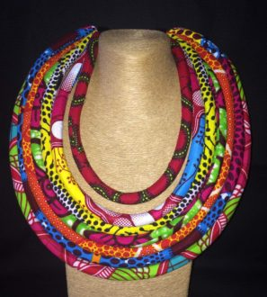 Multicolored Ankara Print 6 Strand Necklace