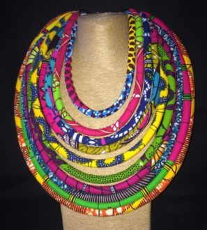 Multicolored Ankara Print 10 Strand Necklace