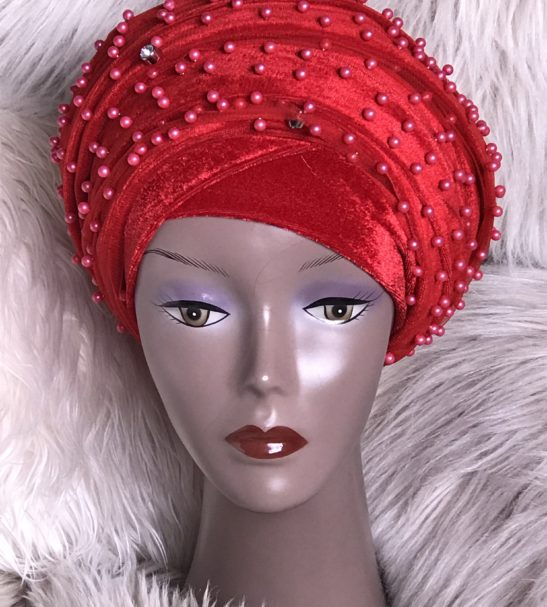 Fully Beaded Red Extra Large Velvet Turban