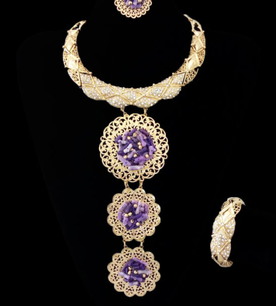 amarachi gold and purple necklace set